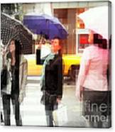 Rainy Day In The City - Blue Pink And Polka Dots Canvas Print