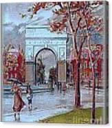 Rainy Day In Washington Square- New York City- 1905 Canvas Print