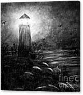 Rainy Night At The Lighthouse Canvas Print