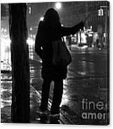 Rainy Night - Hailing A Cab Canvas Print