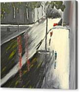 Rainy Street In Melbourne Canvas Print