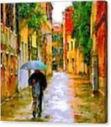 Rainy Walk In Venice Canvas Print