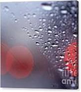 Rainy Windshield Brake Lights Canvas Print