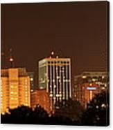 Raleigh Skyline At Night Canvas Print