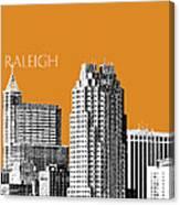 Raleigh Skyline - Dark Orange Canvas Print