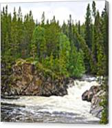 Rancheria Falls Along Alaska Highway In Yk-canada   Canvas Print