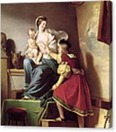 Raphael Adjusting His Model's Pose For His Painting Of The Virgin And Child  Canvas Print