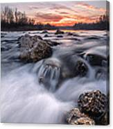 Rapids On Sunset Canvas Print
