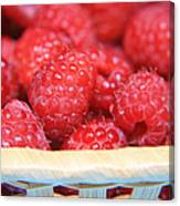 Raspberries In A Basket Canvas Print