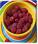 Raspberries In Yellow Bowl On Plate Canvas Print