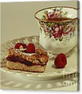 Raspberry Almond Square And Herbal Tea  Canvas Print