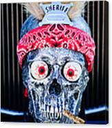Rat Rod Skull Hood Ornament 2 Canvas Print