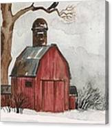 Raven And The Red Barn Canvas Print