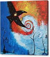 Raven In The Swirl Canvas Print