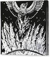 Raven Stealing Fire From The Sun - Woodcut Illustration For Corvidae Canvas Print