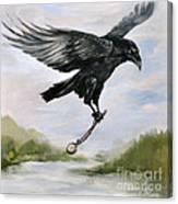 Raven Stealing Time Canvas Print