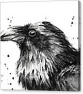 Raven Watercolor Portrait Canvas Print