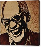 Ray Charles Original Coffee Painting Canvas Print