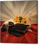 Reading By Candle Light Canvas Print
