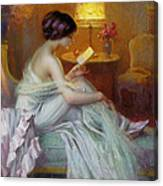 Reading In Lamp Light Canvas Print