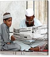 Reading In New Delhi Canvas Print