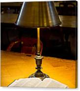 Reading Lamp And Book Canvas Print