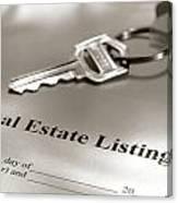 Real Estate Listing And Hosue Keys Canvas Print