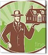 Realtor Real Estate Salesman House Retro Canvas Print