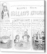 'recipes From Hillary's Kitchen' Canvas Print