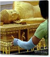 Reclining Buddha Prayer Candles Canvas Print