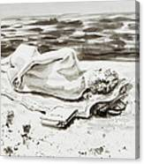 Reclining Nude Study Resting At The Beach Canvas Print