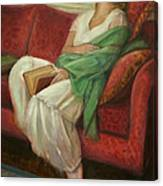 Reclining With Book Canvas Print