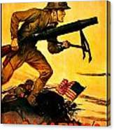 Recruiting Poster - Ww1 - Marines Over The Top Canvas Print