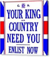 Recruiting Poster - Britain - King And Country Canvas Print