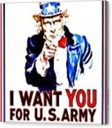 Recruiting Poster - Ww1 - I Want You Canvas Print