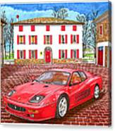 Enzo Ferrari S Garage With 1995 Ferrari 512m Canvas Print