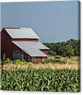 Red Amish Barn And Corn Fields Canvas Print