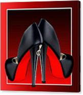 Red And Black High Heel Shoes Canvas Print