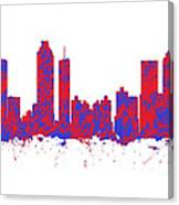 Red And Blue Art Print Of The Skyline Of Atlanta Georgia Usa Canvas Print