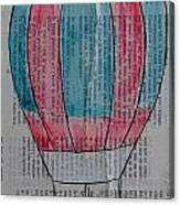 Red And Blue Hot Air Balloon In Paris Fashion Canvas Print