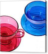 Red And Blue Teacups. Canvas Print