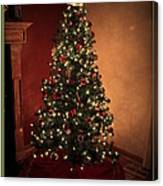 Red And Gold Christmas Tree With Caption Canvas Print