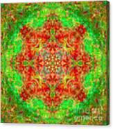 Red And Green Sun Mandala Canvas Print