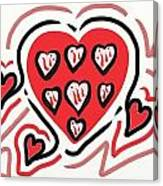 Red And Pink Hearts 2 Canvas Print