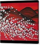 Red And White Sakura Canvas Print