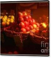 Red And Yellow Apples In Baskets Canvas Print