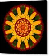 Red And Yellow Marigold V Flower Mandala Canvas Print