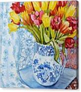 Red And Yellow Tulips In A Copeland Jug Canvas Print