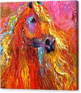 Red Arabian Horse Impressionistic Painting Canvas Print