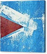 Red Arrow Painted On Blue Wall Canvas Print